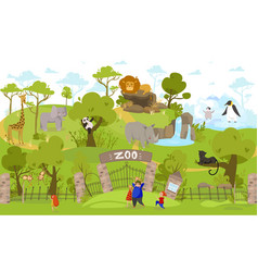 happy family going to zoo exotic animals cartoon vector image
