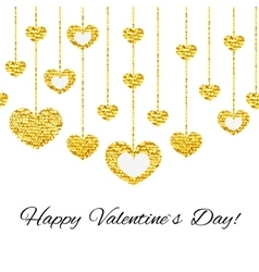 Happy valentines day card with golden glitter vector