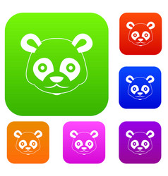 Head of panda set collection vector