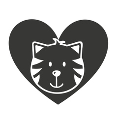 heart love pet mascot isolated icon vector image