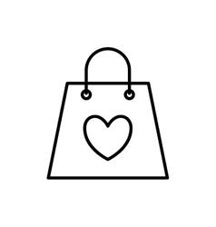 heart shopping bag love romantic icon vector image