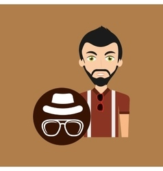 Hipster style character vintage hat mustache vector
