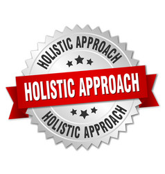 Holistic approach round isolated silver badge vector