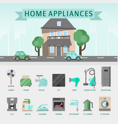 home appliances flat concept vector image