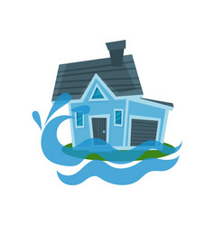 House sinking in a water property insurance vector