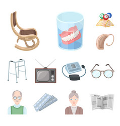 Human old age cartoon icons in set collection for vector