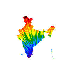 India - map is designed rainbow abstract colorful vector