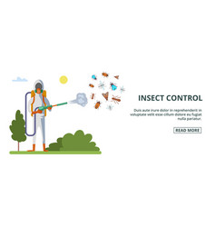 Insect control banner horizontal cartoon style vector