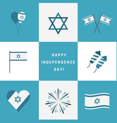 israel independence day holiday flat design icons vector image