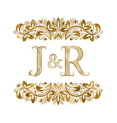 J and r vintage initials logo symbol letters vector