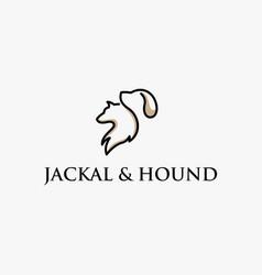 Jackal hound animal outline logo vector