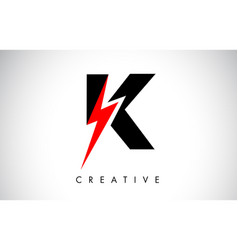 k letter logo design with lighting thunder bolt vector image