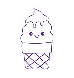 Kawaii sweet ice cream cone cute cartoon isolated vector