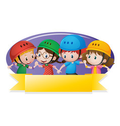 label template with kids wearing helmet vector image