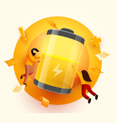 landing page people carry huge battery with low vector image