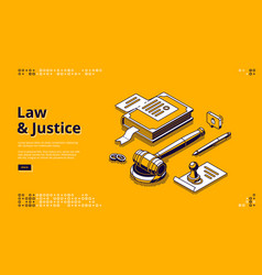 law and justice isometric landing page legislation vector image