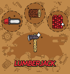 lumberjack flat concept icons vector image
