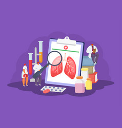 Lungs health care with doctors medical concept of vector