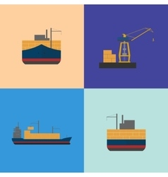 Maritime freight shipping icon set vector image