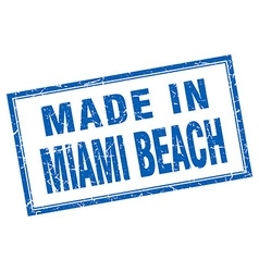 Miami Beach blue square grunge made in stamp vector
