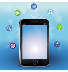 Mobile phone with touchscreen vector