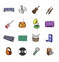 Music black icons set cartoon vector