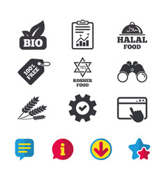 Natural bio food icons halal and kosher signs vector