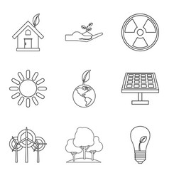 Natural impact icons set outline style vector