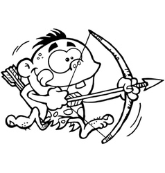 Neanderthal kid with bow and arrow vector image