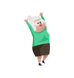 Old woman with hands up character vector
