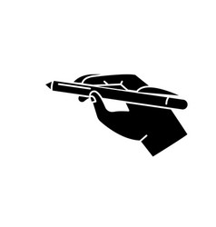 pen in hand black icon sign on isolated vector image