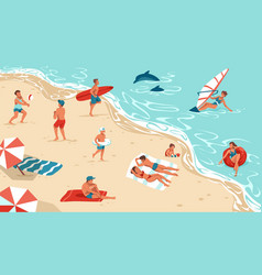 people on summer beach men and women rest vector image
