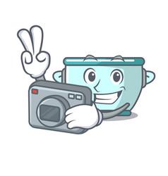 photographer steel pot mascot cartoon vector image