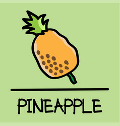 pineapple hand-drawn style vector image