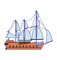 Pirate ship boat side view isolated cartoon blue vector