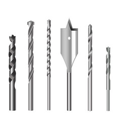 realistic 3d detailed metallic drill bits set vector image