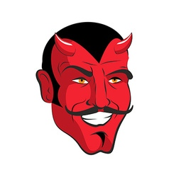 Red devil Red head Merry demon with horns Satan vector