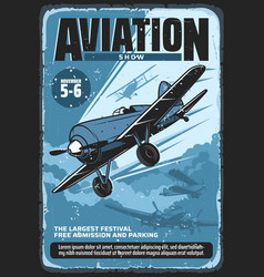 Retro poster aviation show festival vector