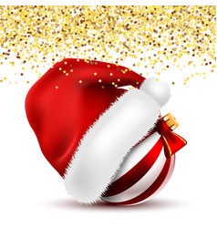 santa claus fur red hat with christmas ball vector image