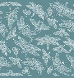 Seamless hand drawn pattern with fantasy vector