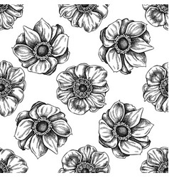 seamless pattern with black and white anemone vector image