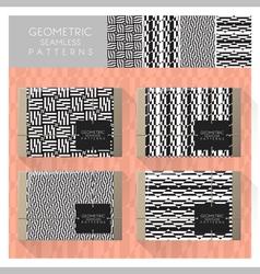 Set geometric seamless pattern 9 vector