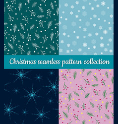 set of blue green and pink winter holidays vector image