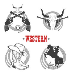 set of cowboy symbols and labels vector image