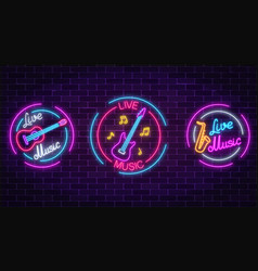 Set of neon live music symbols with circle frames vector