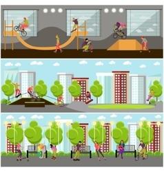 set people on bicycle skateboard vector image
