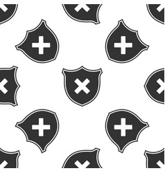 shield and cross x mark icon seamless pattern vector image