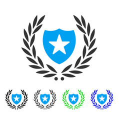 Shield laurel wreath flat icon vector