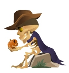 Skeleton in hat is talking with pumpkin vector