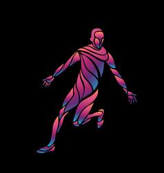 soccer player kicks ball colorful vector image